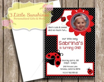 Lady Bug Personalized 1st Birthday Invitations U-Print