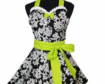 Retro Sweetheart Apron in Damask Print with Green Apple Trim