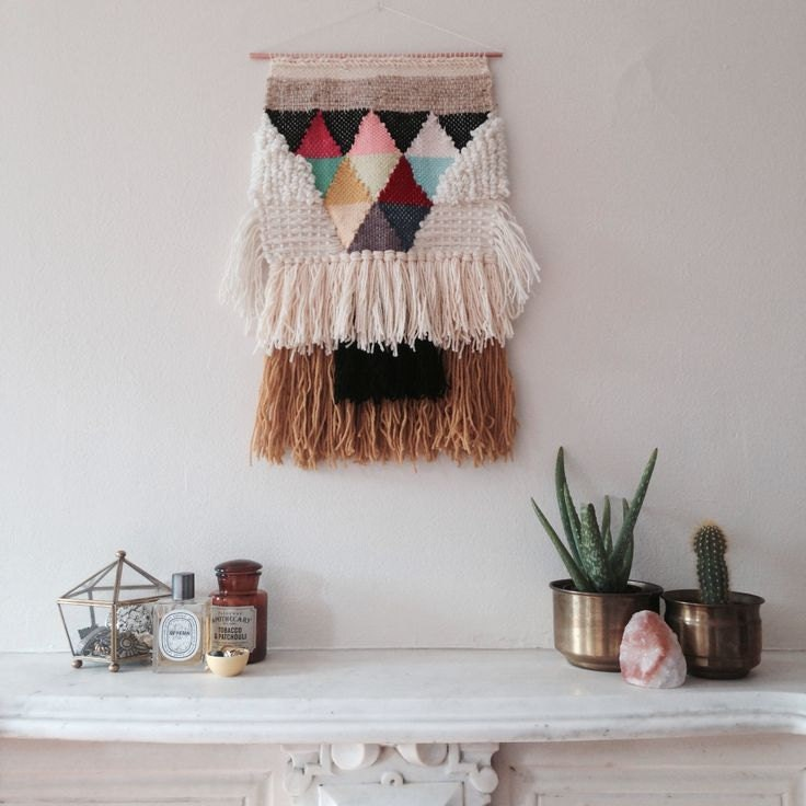 Custom large woven wall hanging for catherine sutton for Decoration murale laine