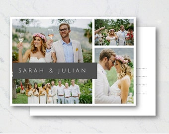 Wedding Thank you cards. photo collage postcards. Card sets or printable digital design. White classic. Engagements or bridal showers.