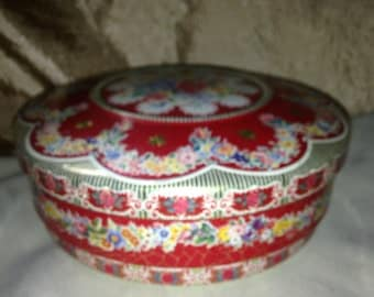 Vintage Flowered Tin or Sewing Tin MADE in HOLLAND