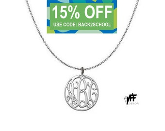 """Any initial necklace - Personalize Silver Disc Monogram Necklace 0.8"""" sterling silver .925 silver"""