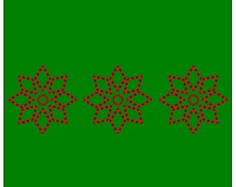 Poinsettia Outline Border - 4x1.25 inch - Machine Embroidery File
