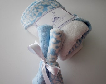 Baby Blue and White Damask Minky Hooded Towel for Newborn, Infant - Baby Hooded Towel, Bath, Washcloth
