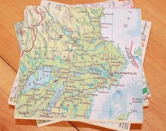 4 Map Coasters,Ceramic Coasters,4 Coasters,Map Art,Personalised Map,Personalised Coasters,Secret Santa,Stocking Filler,World Map Coasters