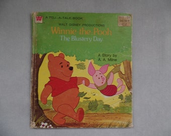 Vintage Tell-A-Tale Book, Winnie-the-Pooh, The Blustery Day, A. A. Milne, Collectible, Kids, Green Yellow Nursery Decor