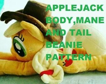 Applejack Pattern, Beanie ,Sewing Pattern, My Little Pony Friendship is Magic, mlp fim, floppy plush plushie