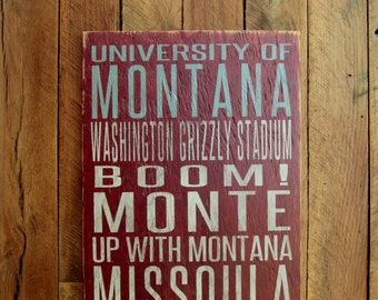 University of Montana Grizzlies Distressed Wood Sign--Great Father's Day Gift!