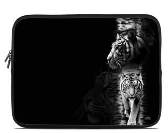 Laptop Sleeve Bag Case - White Tiger by Michael McGloin - Neoprene Padded - Fits MacBooks + More