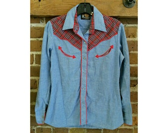 70s Vintage ladies western snap shirt- Kenny Rogers brand chambray and plaid western shirt