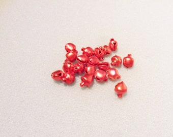 20 bell charms - tiny red bells - red bell charm - 8mm x 6mm - red bells - Christmas charms - red metal bells