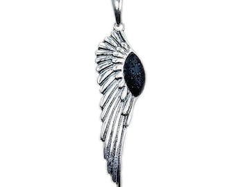 Rare Volcanic Lava Rock & .925 Sterling Silver Angel Wing Pendant, AD607