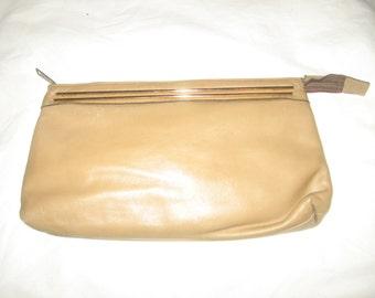 Vintage Letisse Beige Gold Large Leather Clutch Disco Boho Large Long Handbag