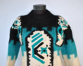 Vintage HANDMADE wool and mohair women's chic pullover ....