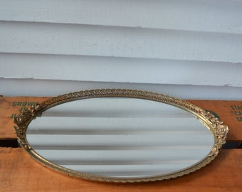 Vintage Vanity Mirror * Dresser Mirror * Gold * Oval * Roses *