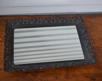 Vintage Mirror Tray * vanity mirror * black * rectangle * large *