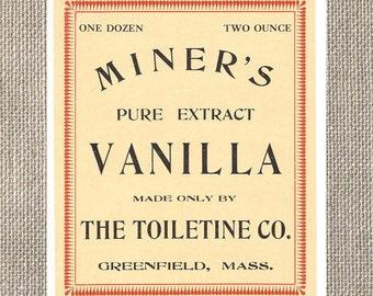 Miners Pure Extract Vanilla - Vintage Label - The Toiletine Company - Greenfield Massachusetts