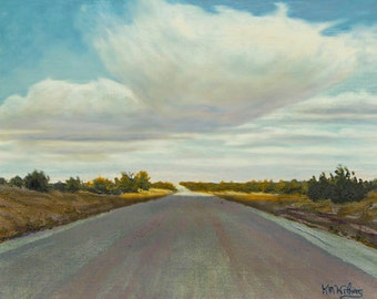 """Road """"Chasing the Sun"""" - Original Landscape Painting - oil - highway painting - sky - contemporary -  turquoise - clouds - 8x10"""