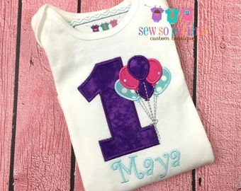 Baby Girl Pink Purple Aqua Birthday Outfit - 1st Birthday Balloon Birthday Outfit - 1st Birthday Shirt - Girl First Birthday shirt