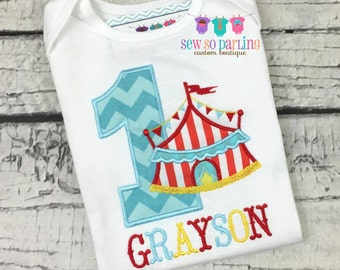 1st Birthday Circus Shirt - Circus Birthday Shirt - Baby Boy Circus Birthday Outfit - first Birthday shirt boy - boy circus shirt ANY AGE