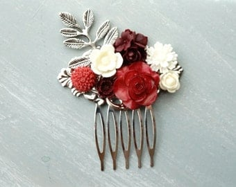 Bridal Hair Comb, Dark Pink, Red, and Ivory Wedding Accessories, silver leaf filigree bridesmaids gift