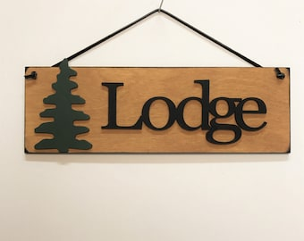 Lodge Sign With Tree Cabin Lodge Wall Art Wooden Lodge Signs Lodge Wall Decor Hunting Cabin
