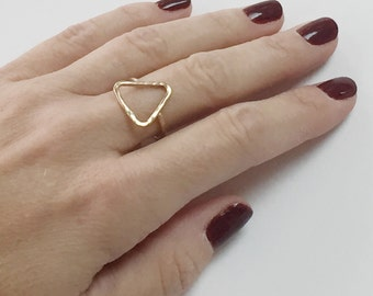 Triangle Ring, Triangle Ring Gold, Triangle Gold Ring, Gold Ring Triangle, Gold Triangle Ring, Geometric Gold Ring, Geometric Ring