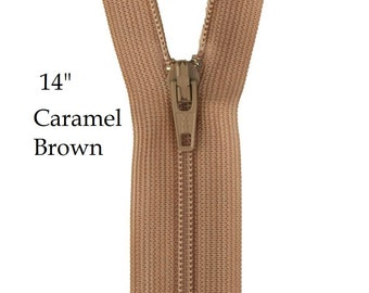 """DESTASH 4 pc 14"""" Brown Closed Zippers, YKK #3 Caramel Brown Non-separating Zippers, Dresses, Clothing, Tote Bags, Pillows, Cushions"""