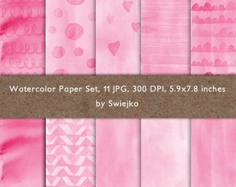Watercolor Digital Paper, Ombre Watercolor Background, Watercolor cards, Pink Hearts, Stripes,