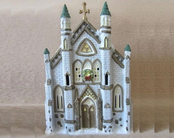 Christmas Village Church, Vintage Dicken's Collectible Victorian Series Lighted Rustic Church, Holiday Display Decoration Mid 90's Cathedral
