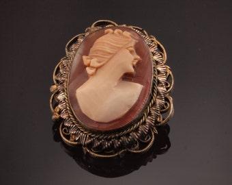 Shell Cameo Pin Brooch, Rolled Gold circa 1930s, Art Deco era