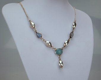Silver Gemstone Necklace with Colored Quartz n Silver Beads