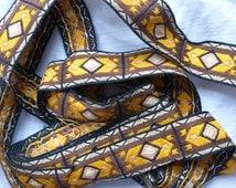 Vintage tapestry trim ribbon tribal yellow brown 3 yards