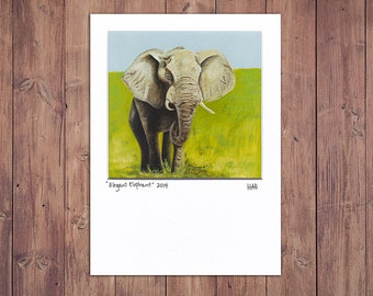 Elephant Art Print, Matted to fit a 5x7 frame, Zoo Decor