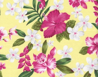 TROPICAL FABRIC: Gorgeous Florals on Yellow - By the Yard