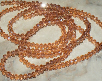 43 Faceted Lt Peach Crystal Glass Rondells - 4x3MM