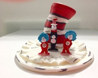 Cat in the Hat, Dr Seuss Cake topper. Birthday, Baptism, Baby shower, christening