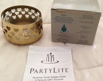 Partylite Brass Votive Candleholder With Heart Cutouts NEW In Original Box