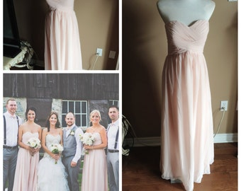 Blush pink bridesmaid dress - sweetheart neckline, unique ruching at bodice