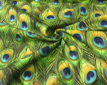 """PEACOCK DIGITAL Print Upholstery Curtain Cotton Fabric Material - Digital Print Textile - 55""""/140cm wide - PEACOCK Feathers Print Canvas"""