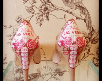 Handpainted Las Vegas themed wedding shoes