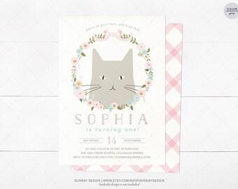 Kitty Birthday Party Invitation Card - DIY Printable Digital File - Kitty Cat Birthday Invitation