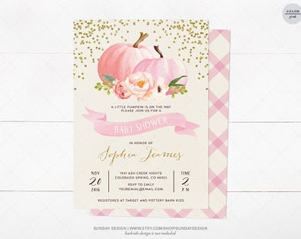 Watercolor Pumpkin Baby Shower Invitation Card - DIY Printable Party - Fall Baby Shower Invite - A Little Pumpkin is on the way