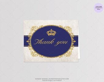 INSTANT DOWNLOAD / Royal Crown Thank You Card - DIY Printable Digital File - Royal Blue and Pink