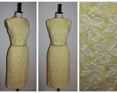 Vintage original 1950s 50s lemon yellow embroidered wiggle dress with matching belt UK 8 XS S