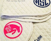 saddle pad monogram, equestrian monograms, heat transfer monograms-18+ colors incl glitter and patterns!