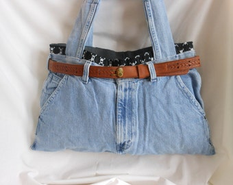 Purse/Tote Made From /Recycled Pants And Boxers
