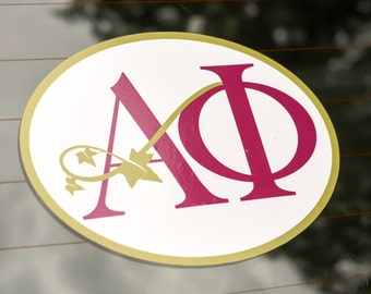 Alpha Phi Sticker for Car or Laptop. Classic Bordeaux Greek Letters Intertwined with Alpha Phi Ivy. Vinyl Sticker.