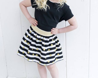 Gold Skirt Girls Skirt Baby Skirt Toddler Circle Skirt Toddler Skirt Black Gold White