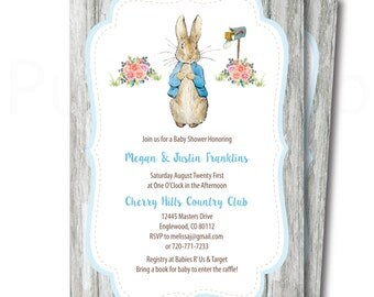 Peter Rabbit Baby Shower Invitation to Print at Home, Printable Peter Rabbit Shower Invitation, Instant Download!